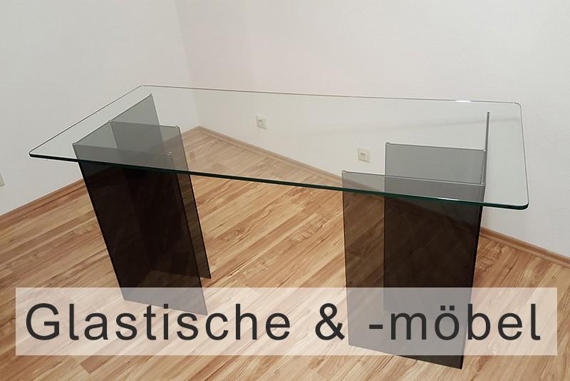 Glastisch und verglaste Tischplatte